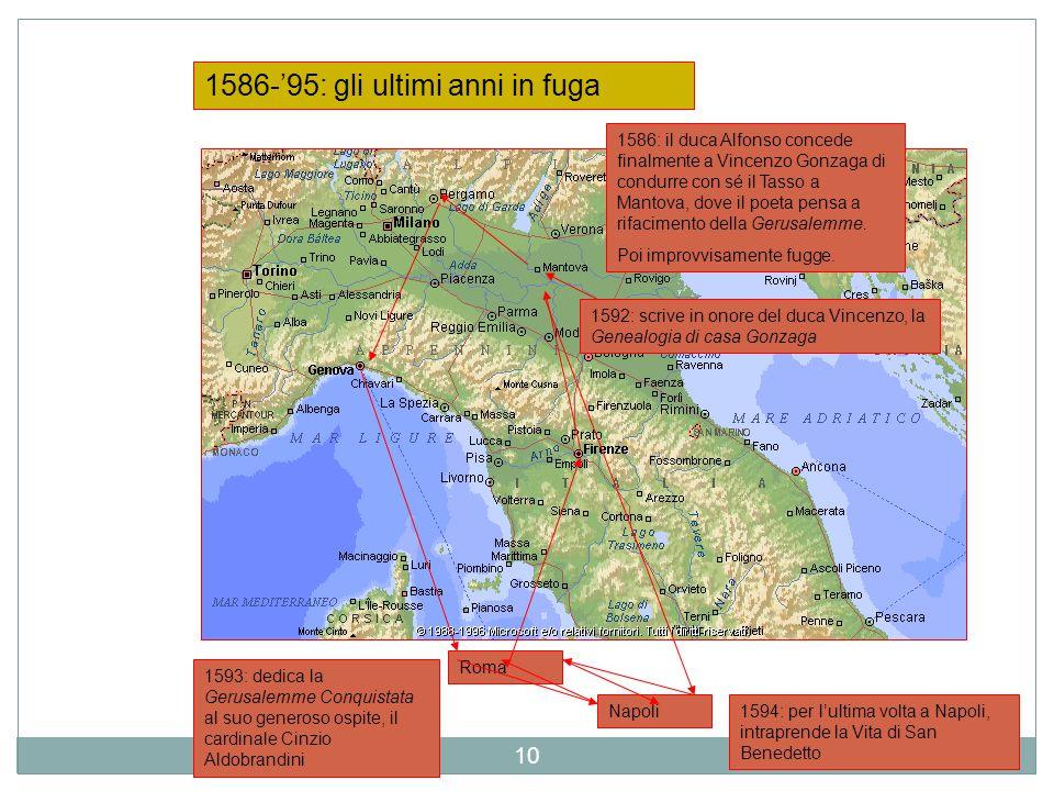 1586-'95: gli ultimi anni in fuga