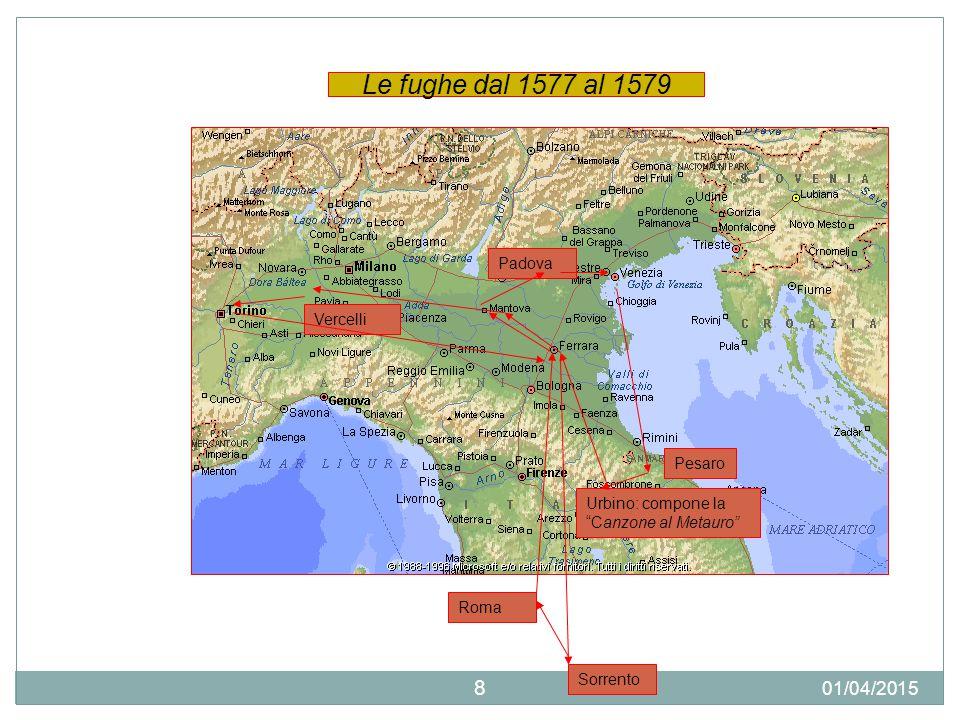Le fughe dal 1577 al 1579 09/04/2017 Padova Vercelli Pesaro