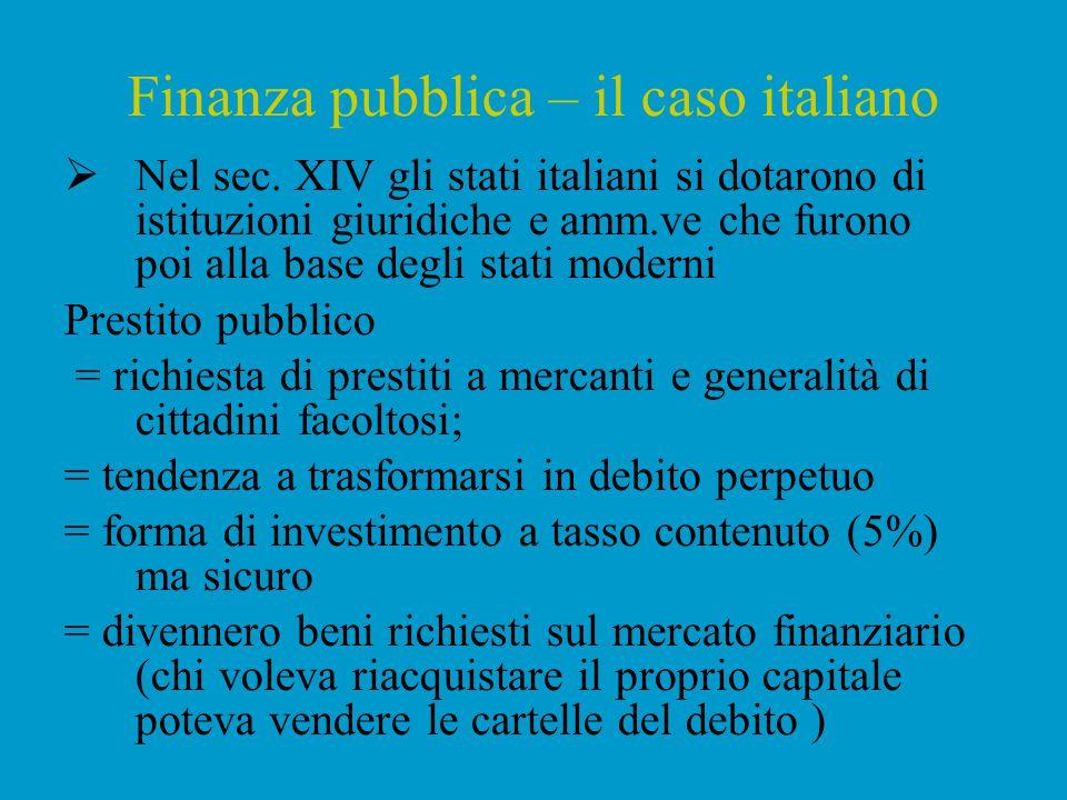 Finanza pubblica – il caso italiano
