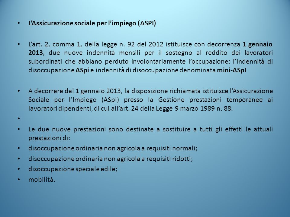 L'Assicurazione sociale per l'impiego (ASPI)