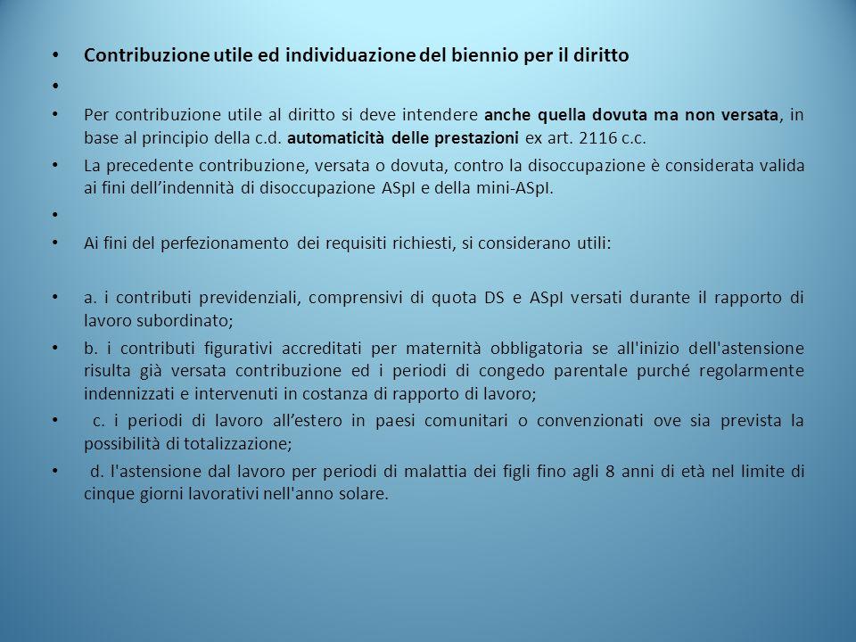 Contribuzione utile ed individuazione del biennio per il diritto