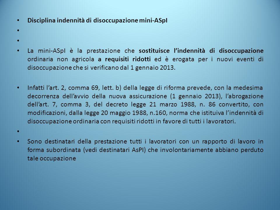 Disciplina indennità di disoccupazione mini-ASpI