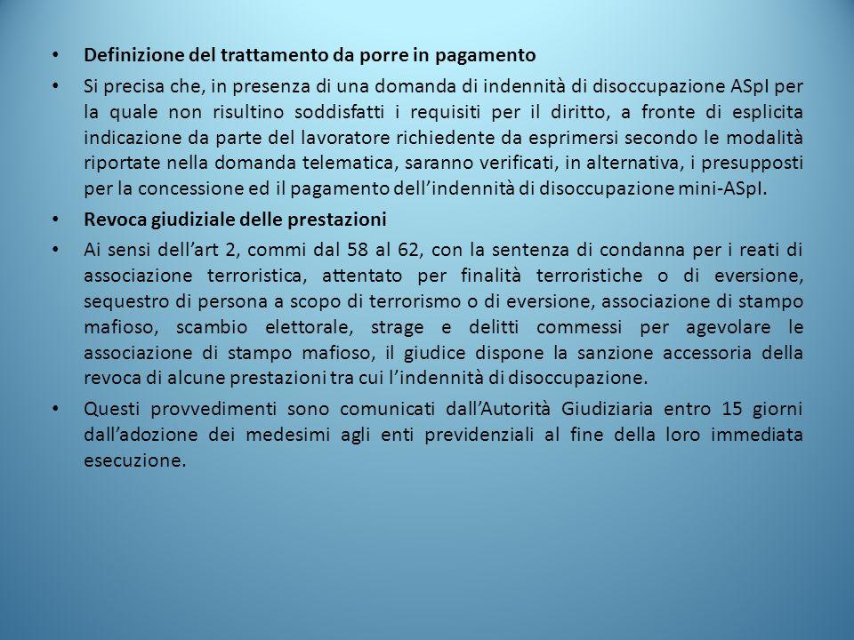 Definizione del trattamento da porre in pagamento