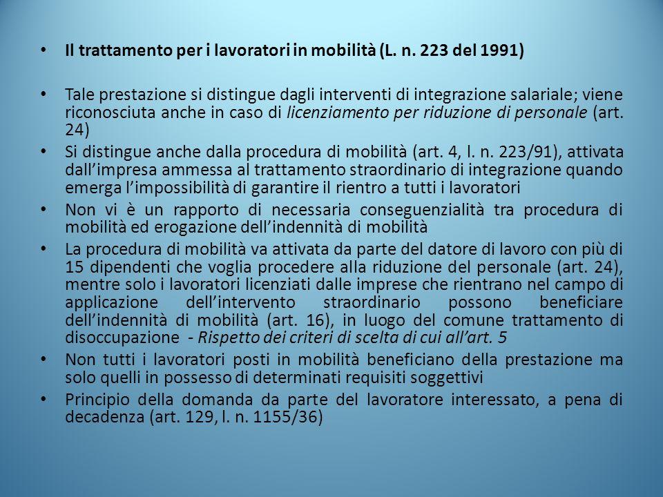 Il trattamento per i lavoratori in mobilità (L. n. 223 del 1991)