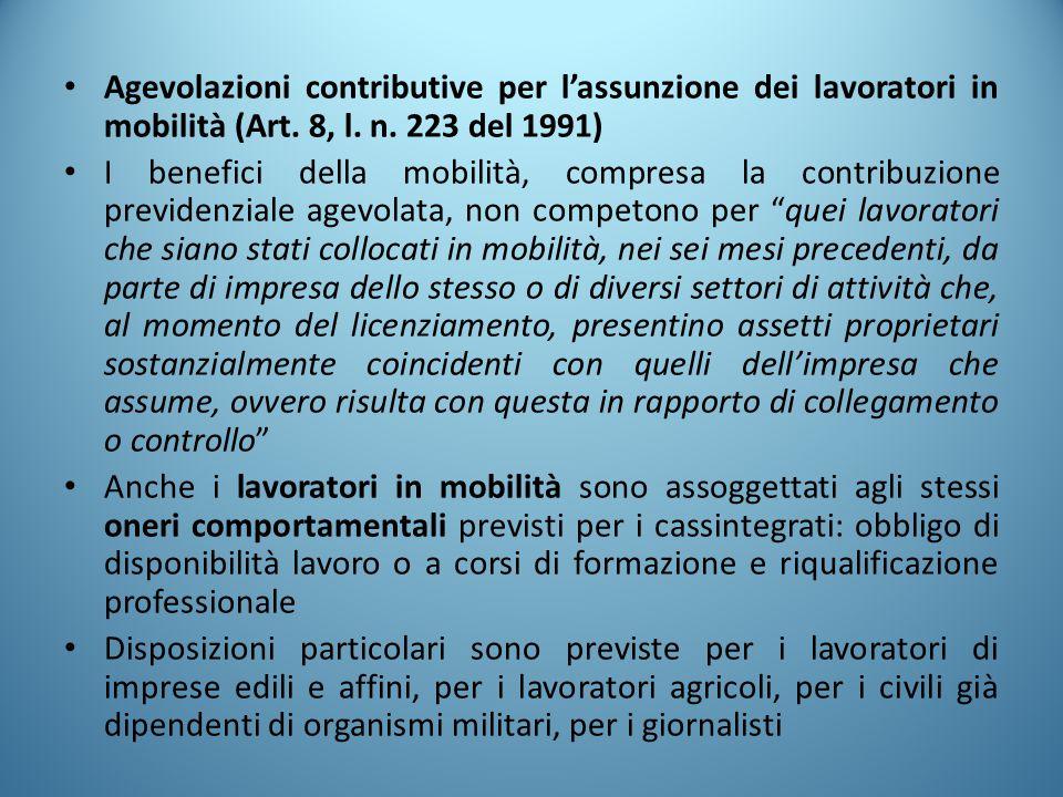 Agevolazioni contributive per l'assunzione dei lavoratori in mobilità (Art. 8, l. n. 223 del 1991)