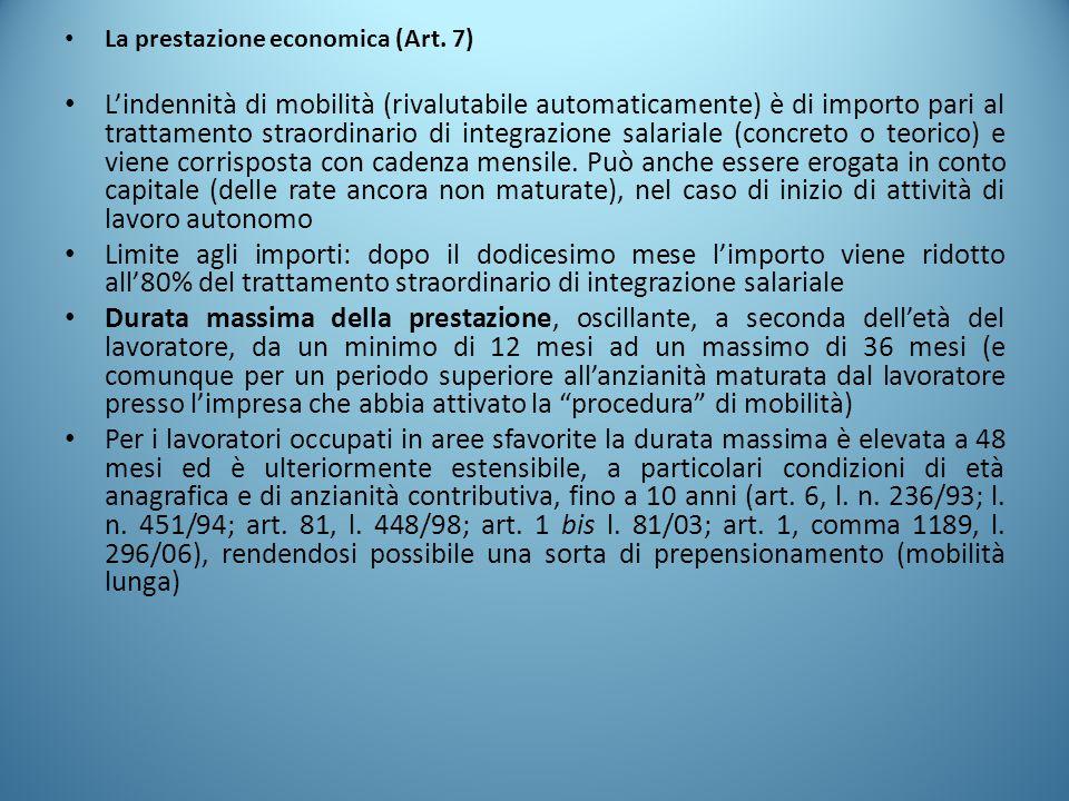 La prestazione economica (Art. 7)