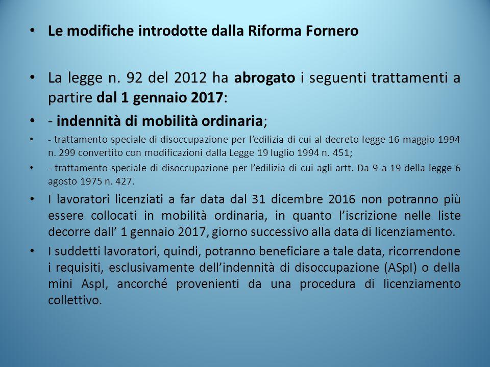 Le modifiche introdotte dalla Riforma Fornero