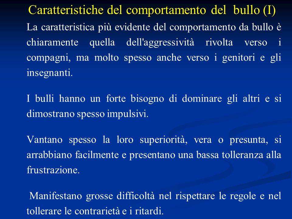 Caratteristiche del comportamento del bullo (I)