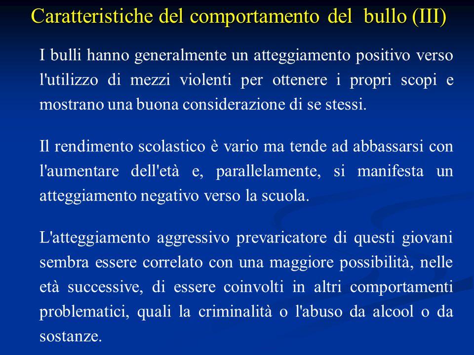 Caratteristiche del comportamento del bullo (III)
