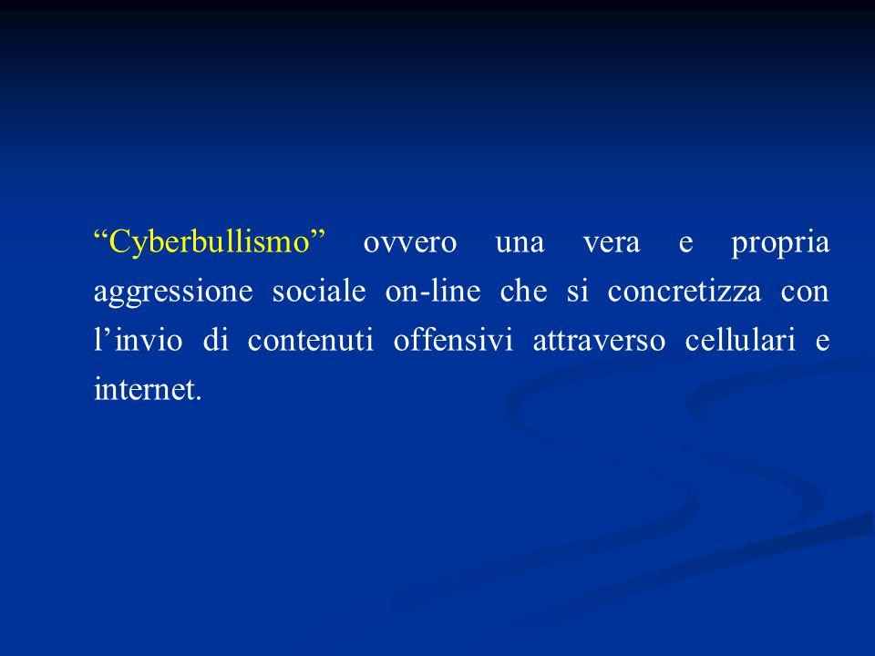 Cyberbullismo ovvero una vera e propria aggressione sociale on-line che si concretizza con l'invio di contenuti offensivi attraverso cellulari e internet.