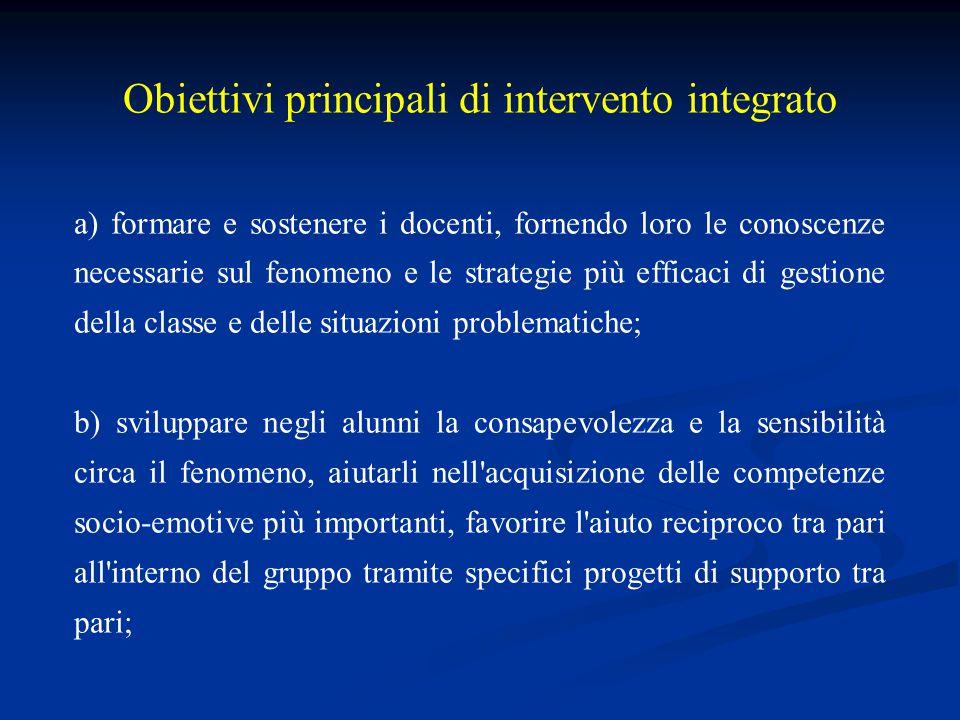 Obiettivi principali di intervento integrato