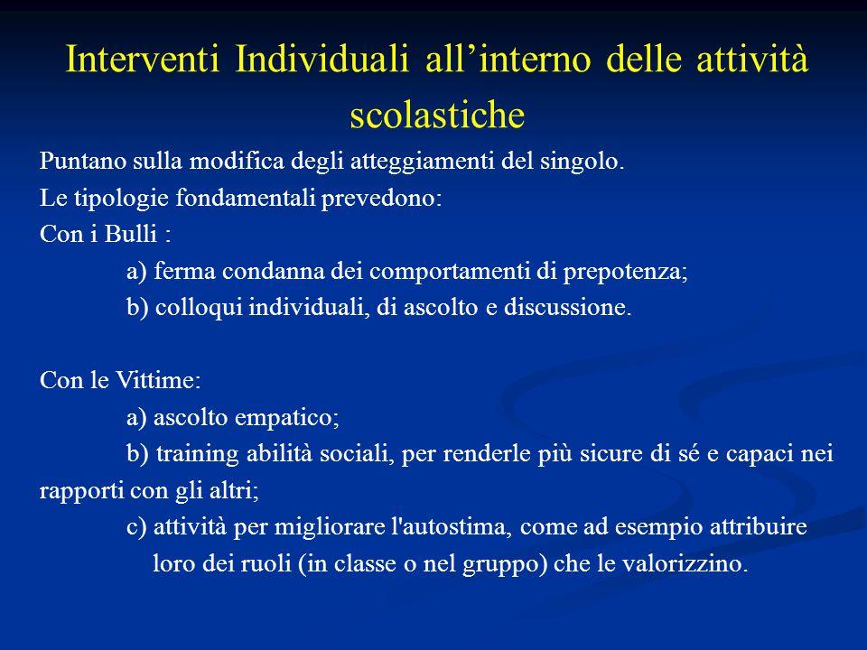 Interventi Individuali all'interno delle attività scolastiche