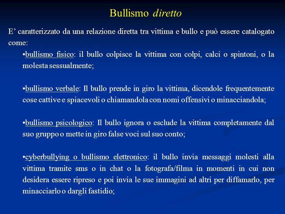 Bullismo diretto E' caratterizzato da una relazione diretta tra vittima e bullo e può essere catalogato come: