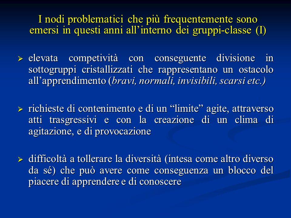 I nodi problematici che più frequentemente sono emersi in questi anni all'interno dei gruppi-classe (I)
