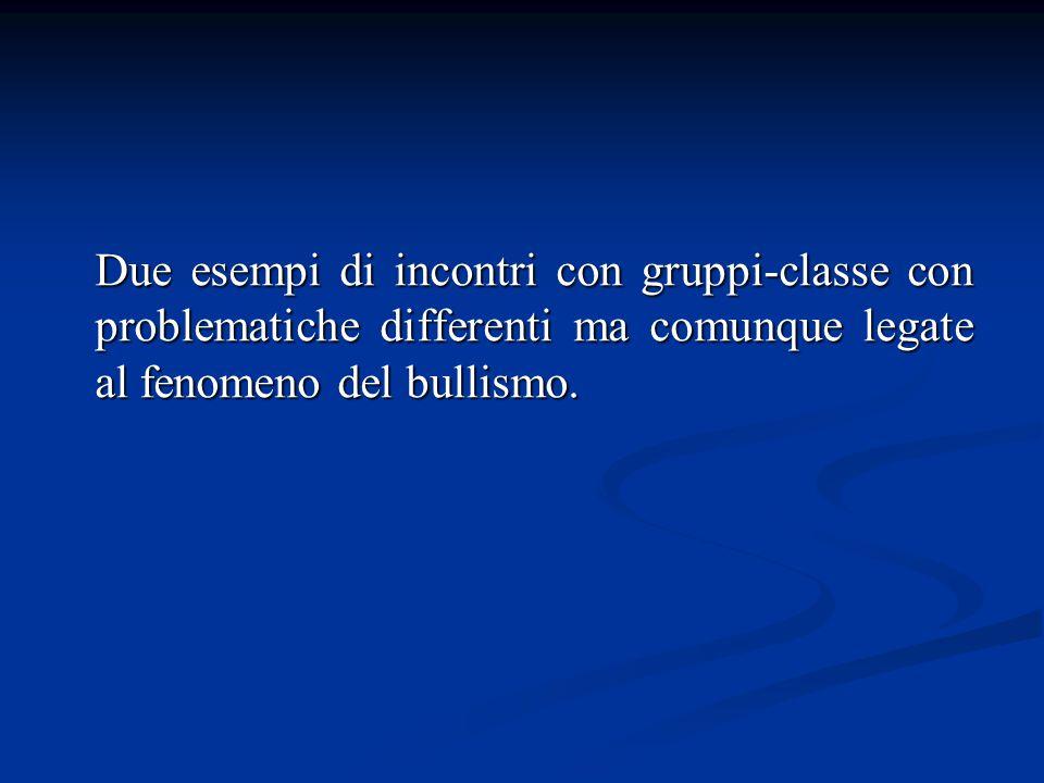 Due esempi di incontri con gruppi-classe con problematiche differenti ma comunque legate al fenomeno del bullismo.