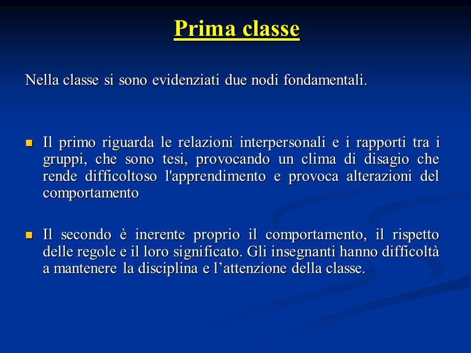 Prima classe Nella classe si sono evidenziati due nodi fondamentali.