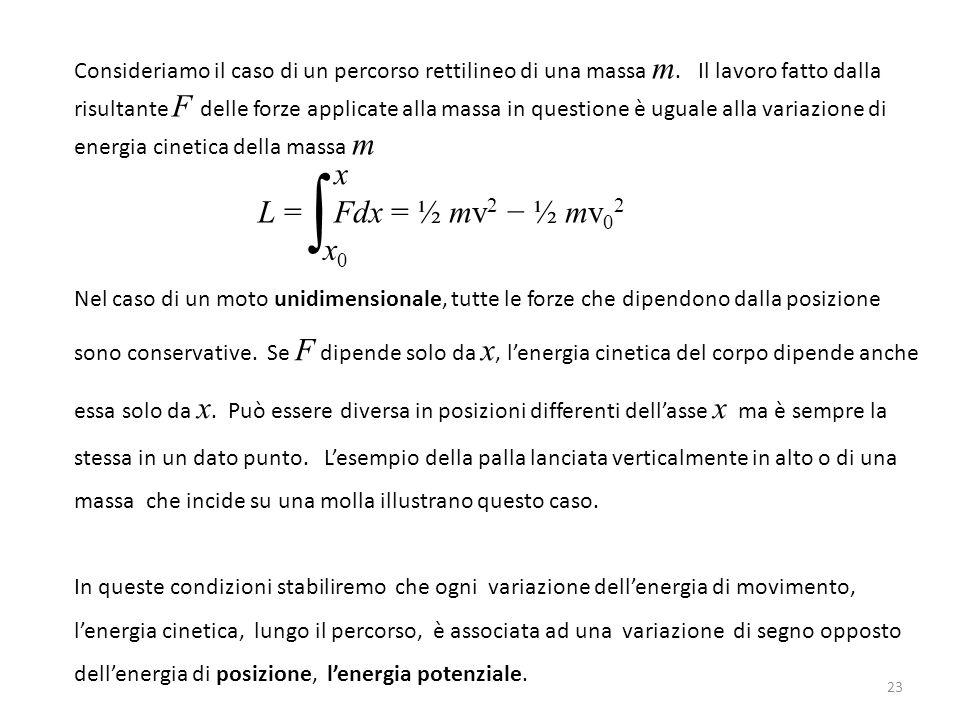 Consideriamo il caso di un percorso rettilineo di una massa m