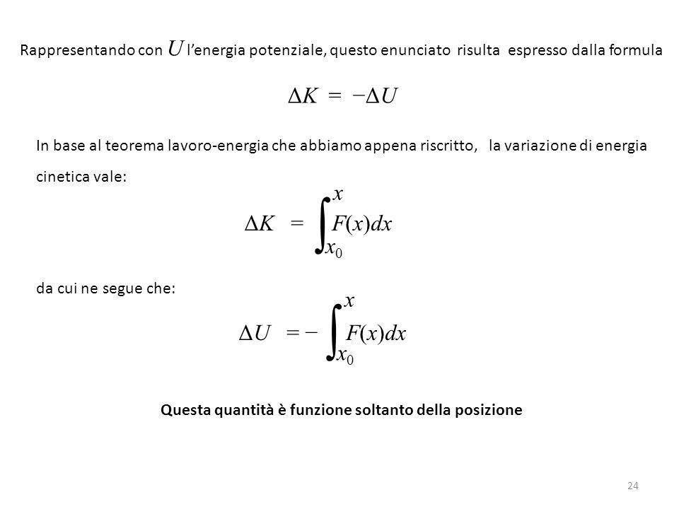 ∫ ∫ ΔK = −ΔU ΔK = F(x)dx x ΔU = − F(x)dx x0 x x0