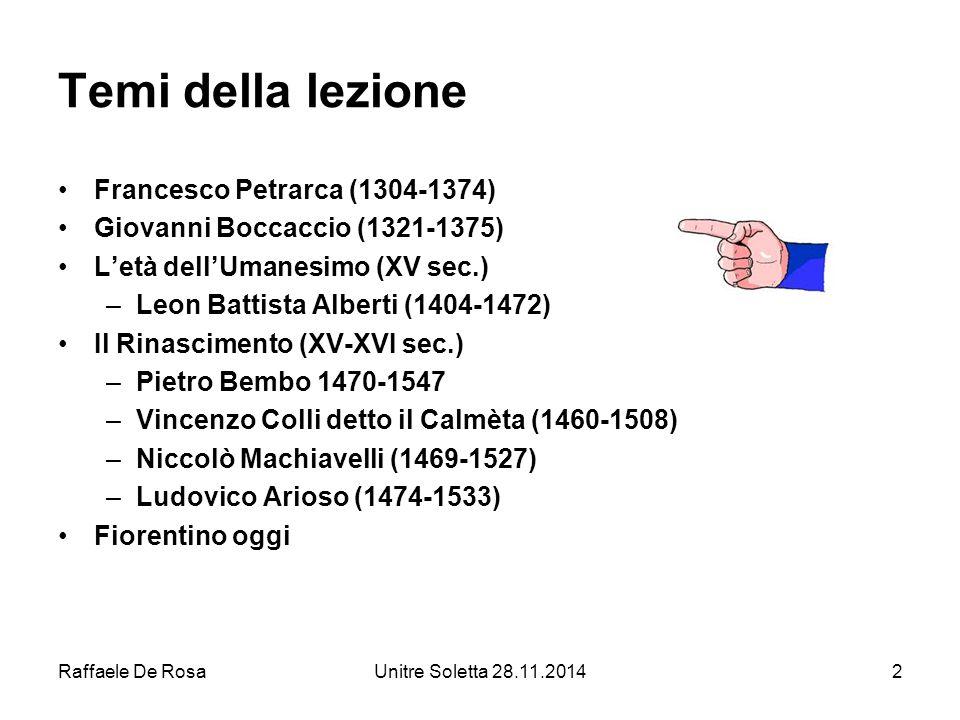 Temi della lezione Francesco Petrarca (1304-1374)