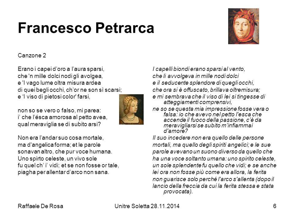 Francesco Petrarca Canzone 2 Erano i capei d'oro a l'aura sparsi,