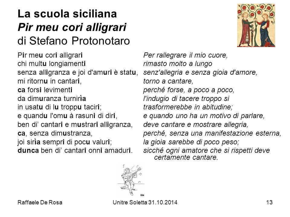 La scuola siciliana Pir meu cori alligrari di Stefano Protonotaro