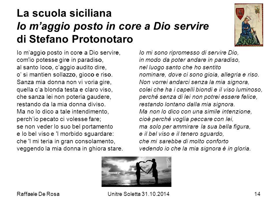 La scuola siciliana Io m'aggio posto in core a Dio servire di Stefano Protonotaro