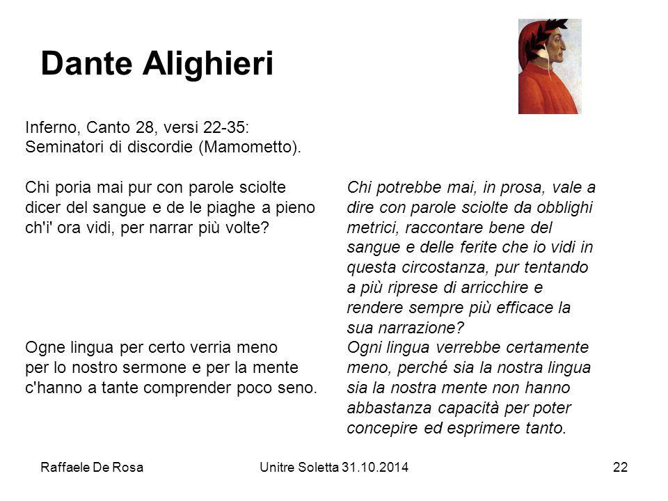 Dante Alighieri Inferno, Canto 28, versi 22-35: