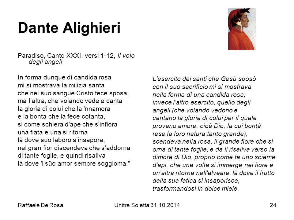 Dante Alighieri Paradiso, Canto XXXI, versi 1-12, Il volo degli angeli