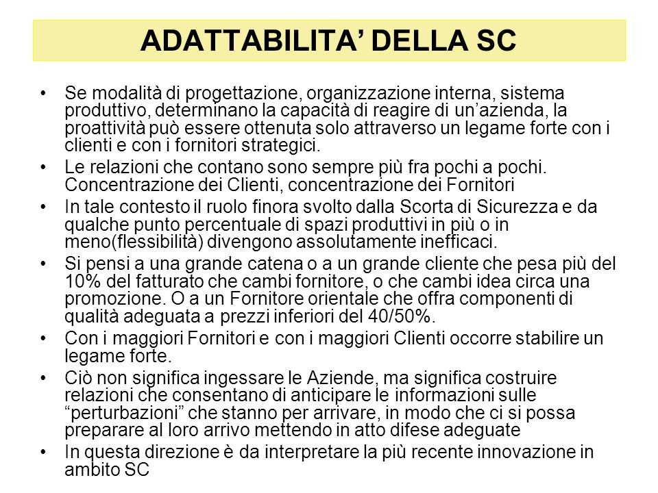 ADATTABILITA' DELLA SC