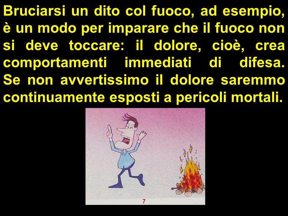 Bruciarsi un dito col fuoco, ad esempio, è un modo per imparare che il fuoco non si deve toccare: il dolore, cioè, crea comportamenti immediati di difesa. Se non avvertissimo il dolore saremmo continuamente esposti a pericoli mortali.