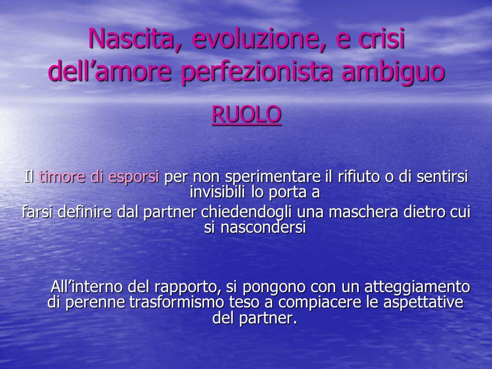 Nascita, evoluzione, e crisi dell'amore perfezionista ambiguo