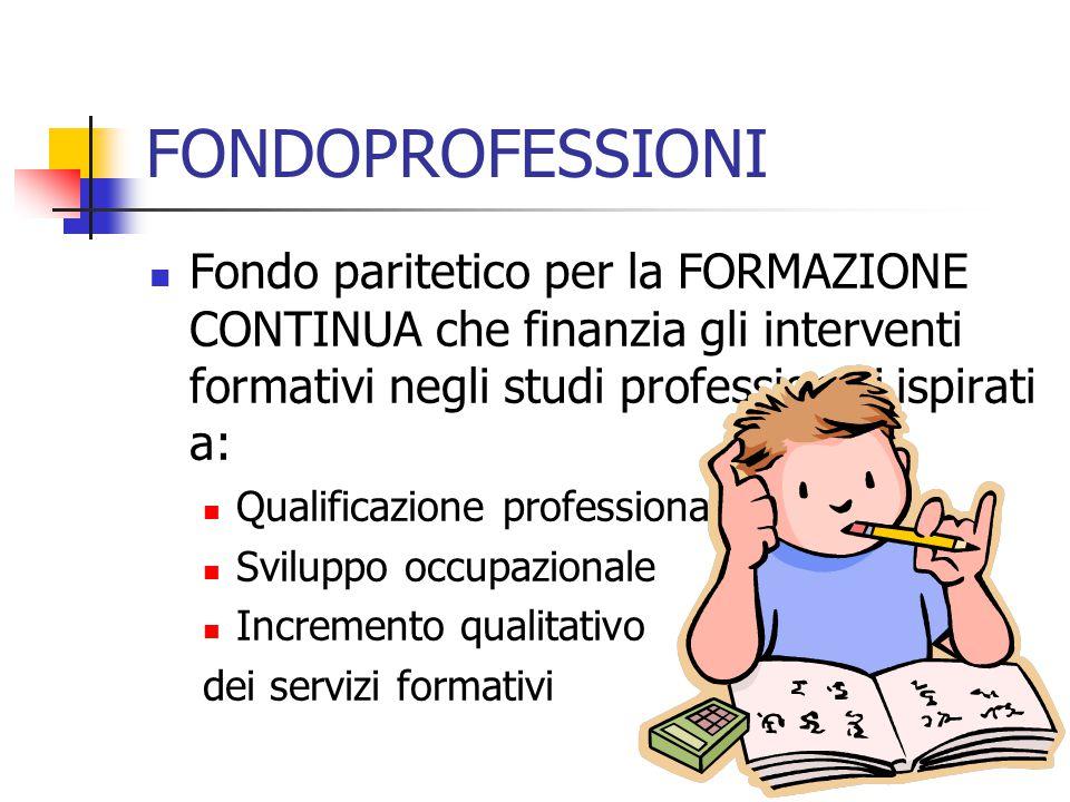 FONDOPROFESSIONI Fondo paritetico per la FORMAZIONE CONTINUA che finanzia gli interventi formativi negli studi professionali ispirati a: