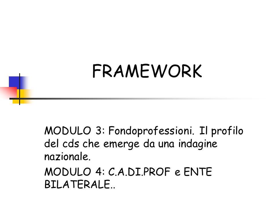 FRAMEWORK MODULO 3: Fondoprofessioni. Il profilo del cds che emerge da una indagine nazionale.