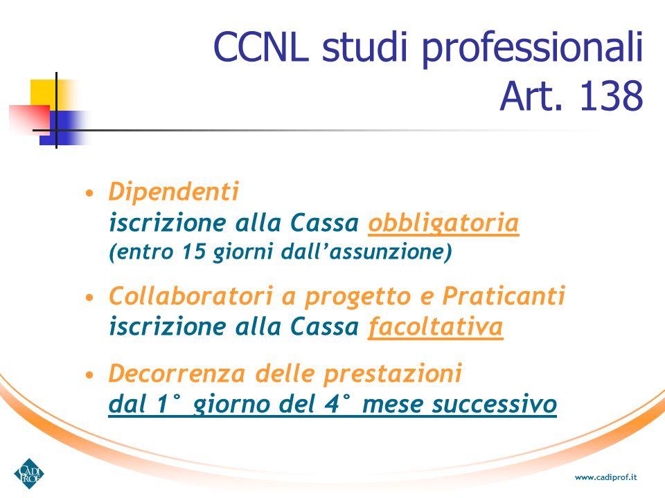 CCNL studi professionali Art. 138