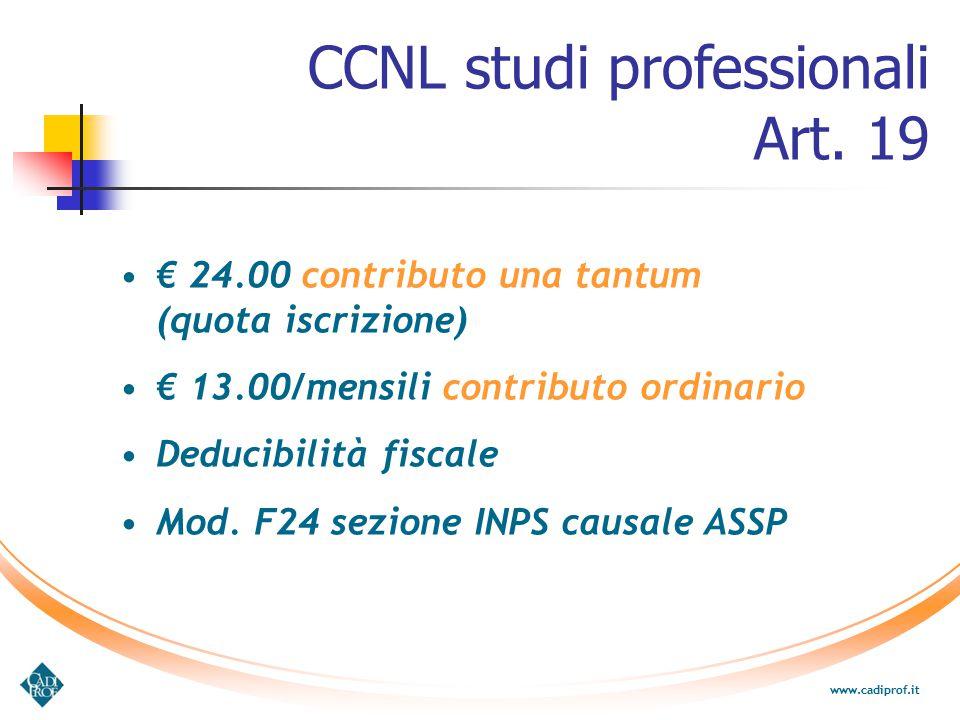 CCNL studi professionali Art. 19