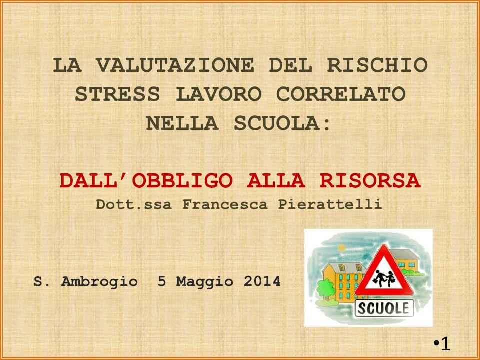 LA VALUTAZIONE DEL RISCHIO STRESS LAVORO CORRELATO NELLA SCUOLA: