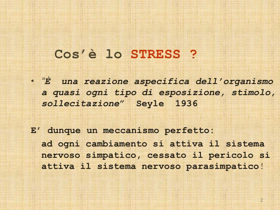 Cos'è lo STRESS È una reazione aspecifica dell'organismo a quasi ogni tipo di esposizione, stimolo, sollecitazione Seyle 1936.