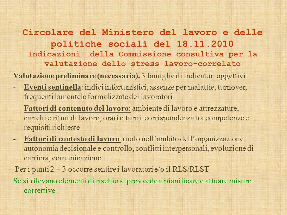 Circolare del Ministero del lavoro e delle politiche sociali del 18.11.2010 Indicazioni della Commissione consultiva per la valutazione dello stress lavoro-correlato