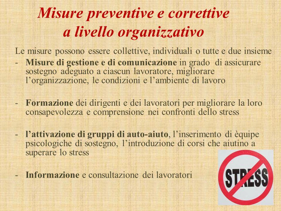 Misure preventive e correttive a livello organizzativo