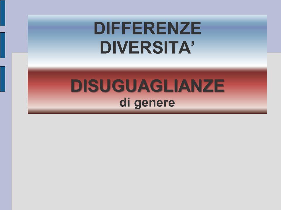 DIFFERENZE DIVERSITA' DISUGUAGLIANZE di genere
