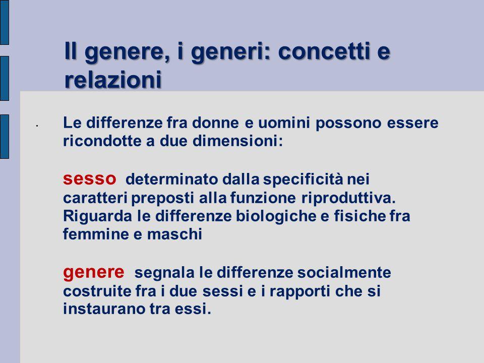 Il genere, i generi: concetti e relazioni