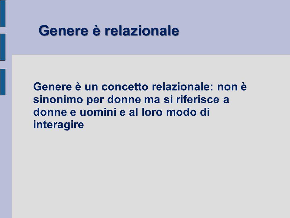 Genere è relazionale Genere è un concetto relazionale: non è sinonimo per donne ma si riferisce a donne e uomini e al loro modo di interagire.