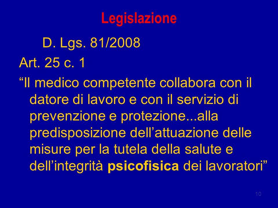 Legislazione D. Lgs. 81/2008 Art. 25 c. 1