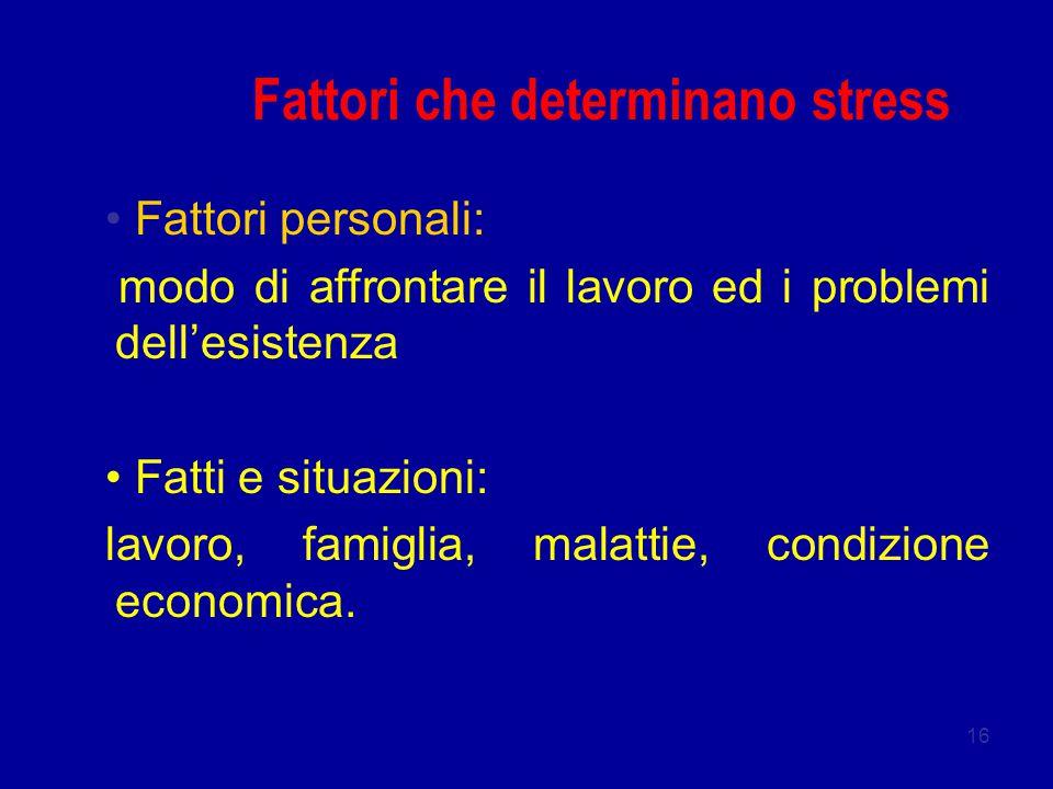Fattori che determinano stress
