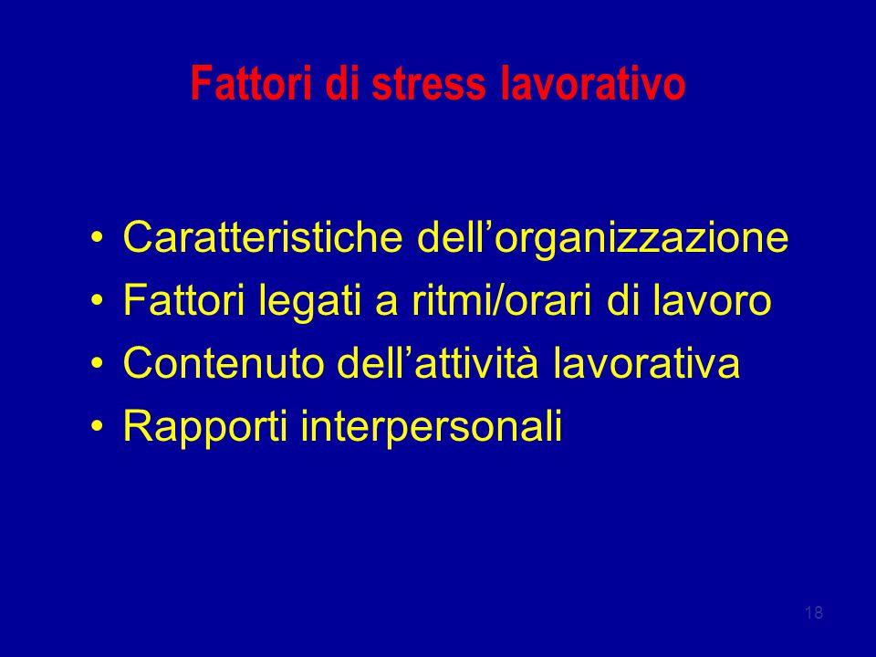Fattori di stress lavorativo