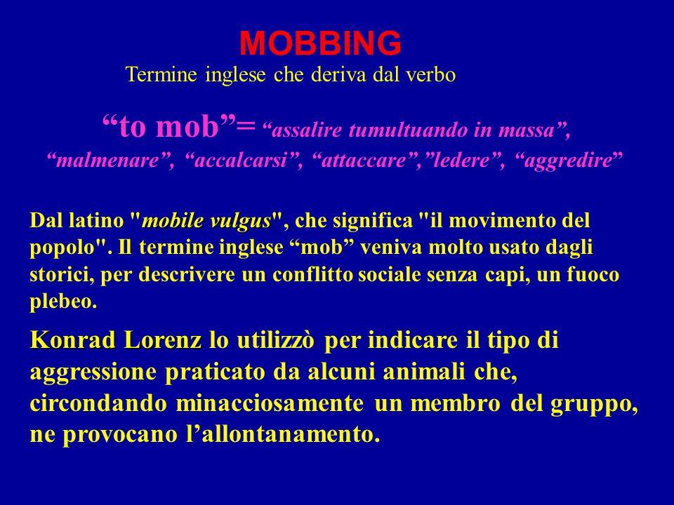 MOBBING Termine inglese che deriva dal verbo.