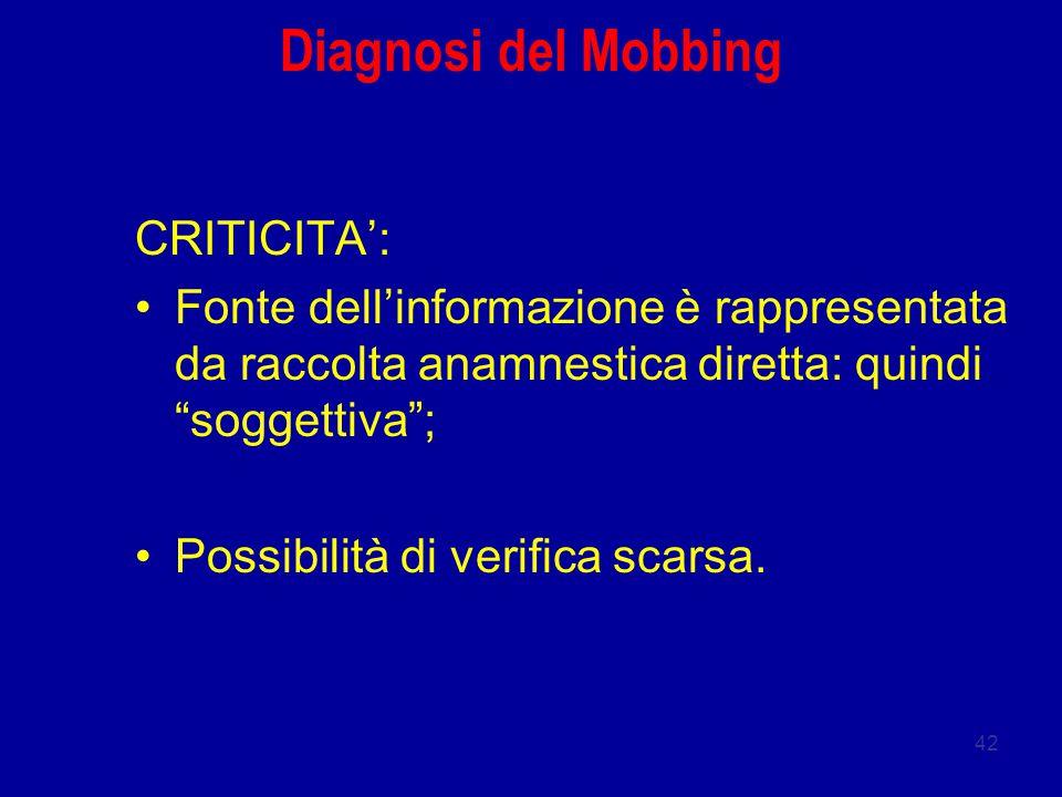 Diagnosi del Mobbing CRITICITA':