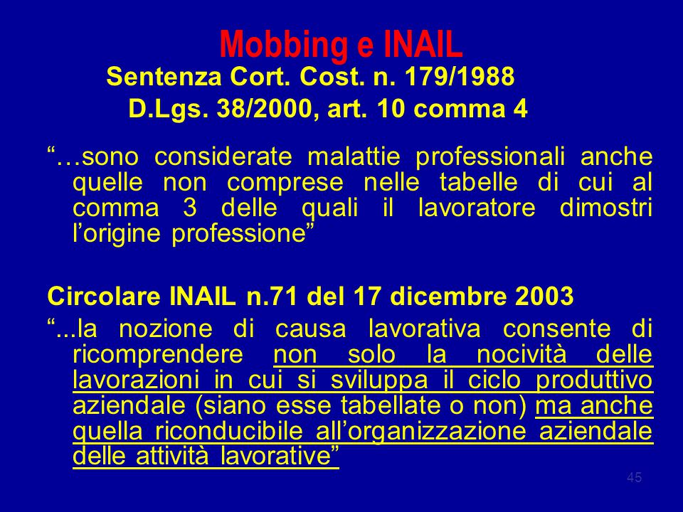 Mobbing e INAIL Sentenza Cort. Cost. n. 179/1988