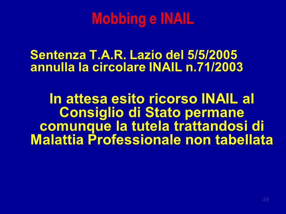 Mobbing e INAIL Sentenza T.A.R. Lazio del 5/5/2005 annulla la circolare INAIL n.71/2003.