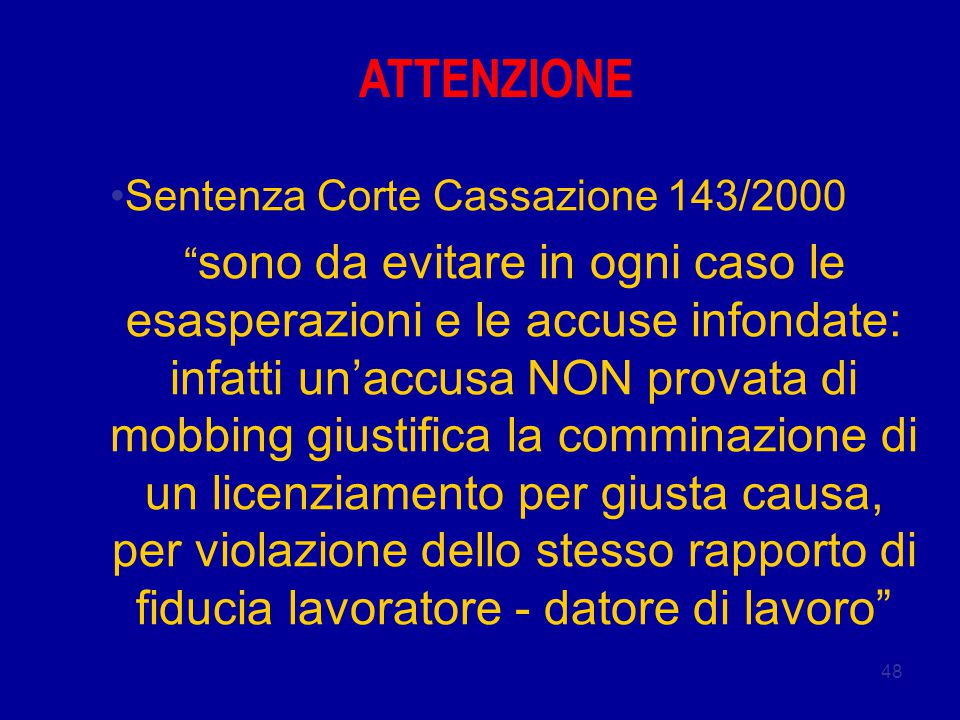 ATTENZIONE Sentenza Corte Cassazione 143/2000